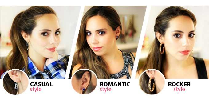 aretes largos o cortos, pendientes, tips, accesorios, casual, romantic, rocker, style