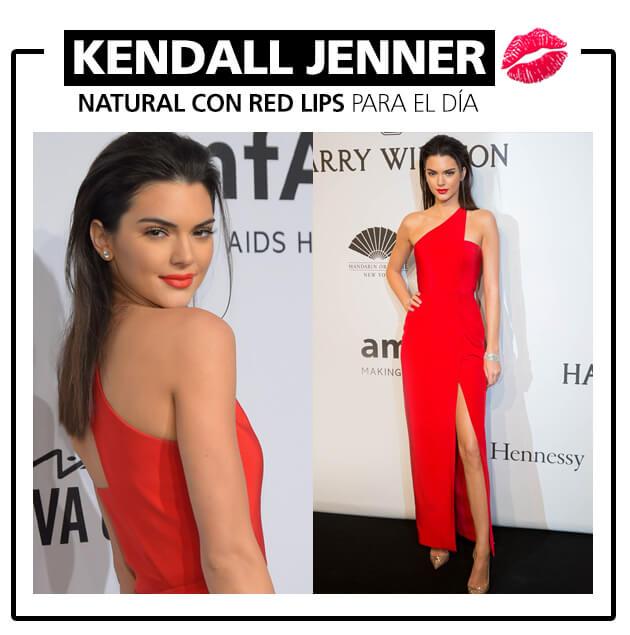 maquillaje - vestido rojo - Kendall Jenner