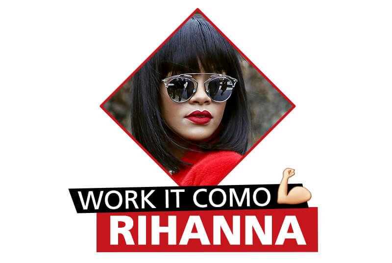 Rihanna con lentes mirror y labial rojo