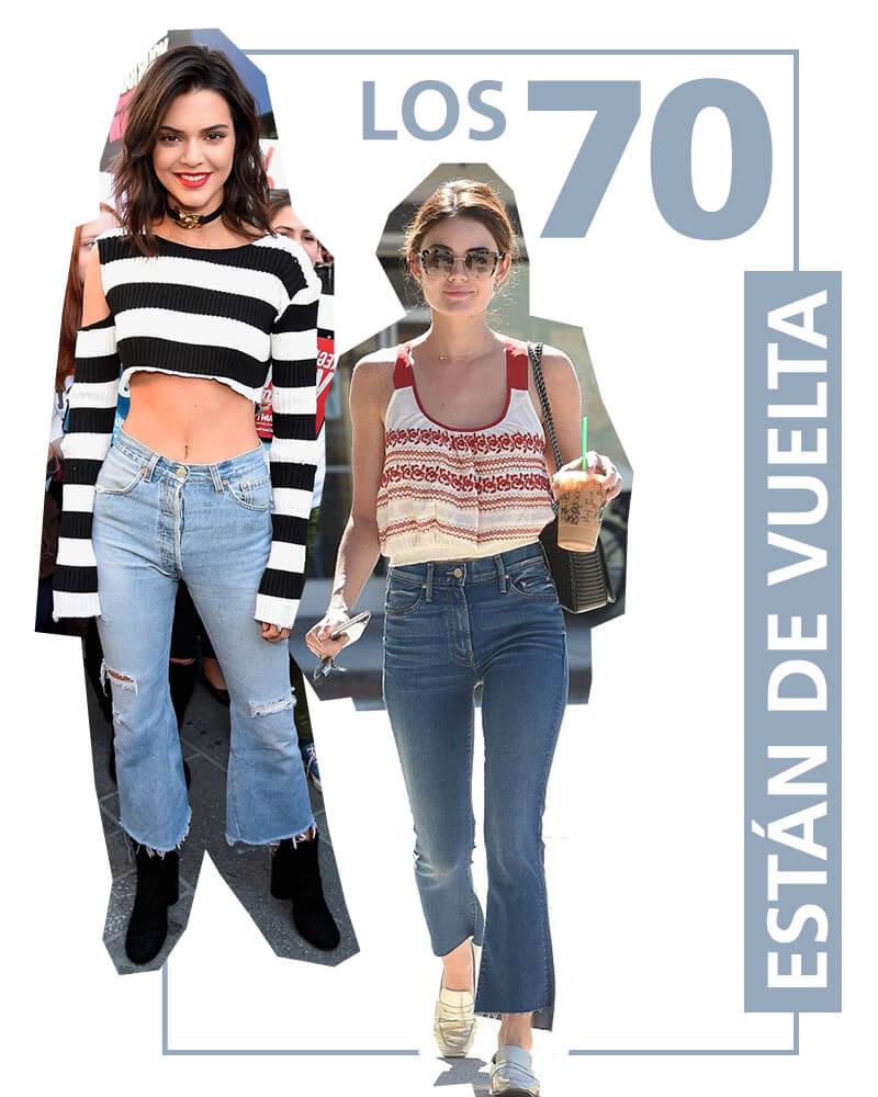 Kendall Jenner y Lucy Hale usando jeans acampanados