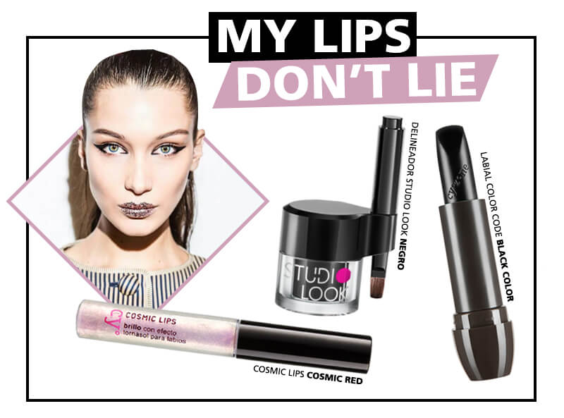 Maquillaje con glitter labiales
