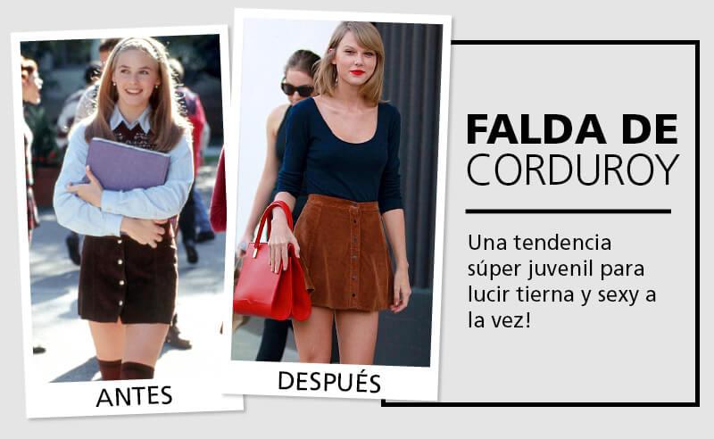 Moda Vintage faldas de corduroy