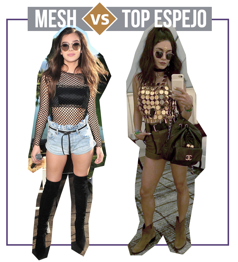 Tendencias en Coachella pantalones mesh y top espejo