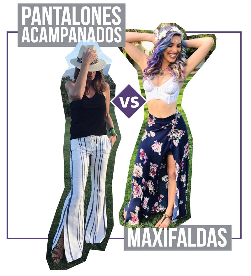 Tendencias en Coachella pantalones acampanados y maxifaldas