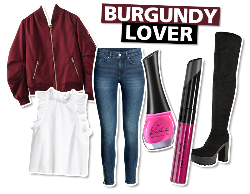 Looks con bomber jacket: burgundy