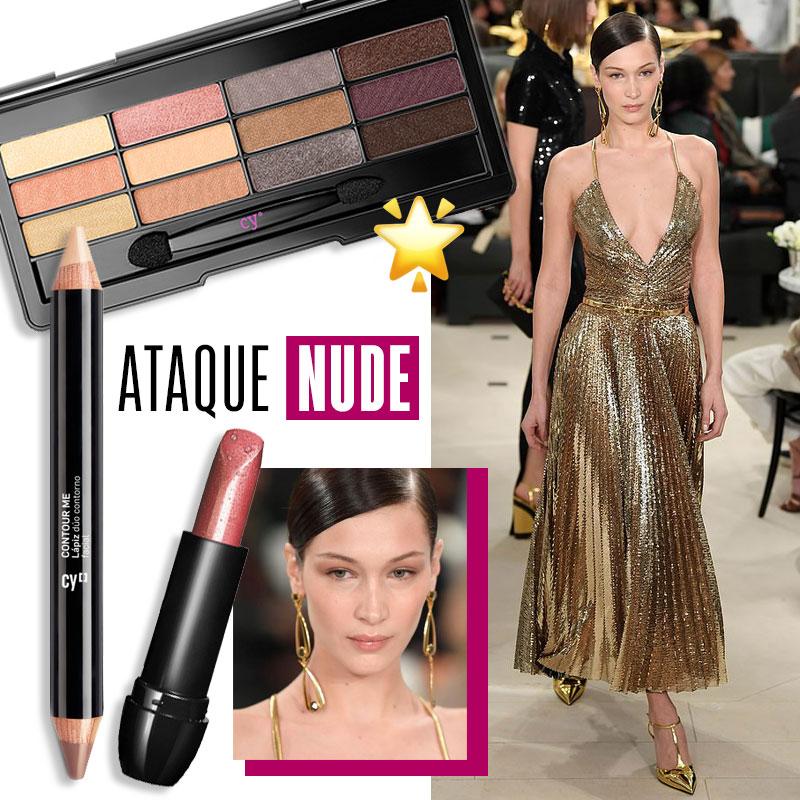 Maquillaje para vestido dorado Look casual: ataque nude| Fuente: Pinterest