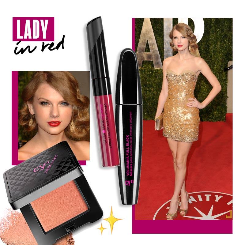 Maquillaje para vestido dorado Look clásico: lady in red | Fuente: Pinterest