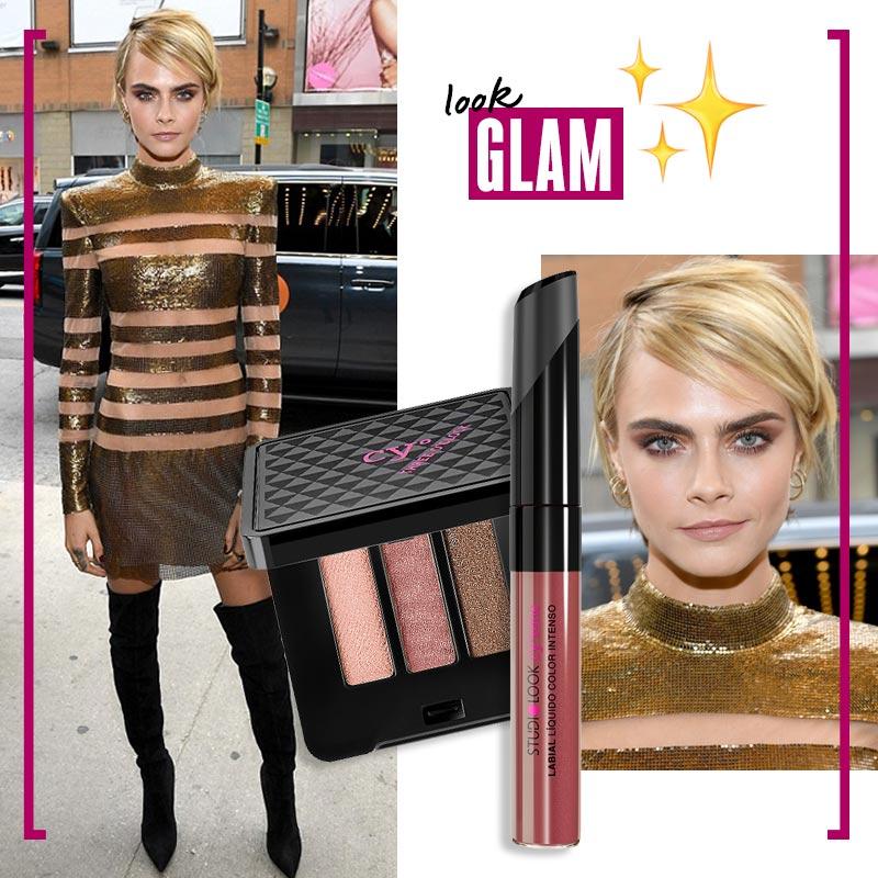 Maquillaje para vestido dorado Look glam: golden star | Fuente: Pinterest