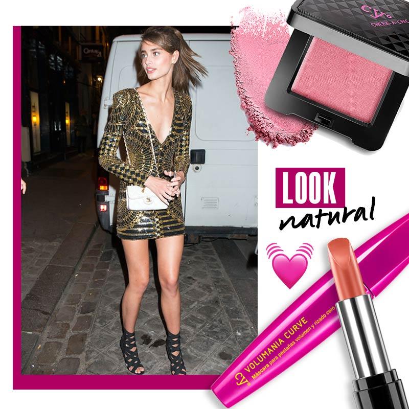 Maquillaje para vestido dorado: Look natural| Fuente: Pinterest