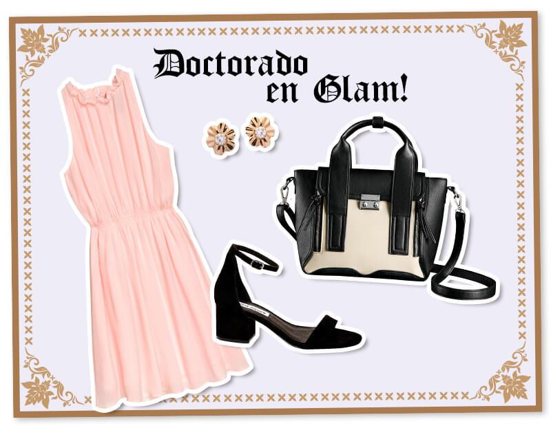 Outfits para graduación: vestido rosado
