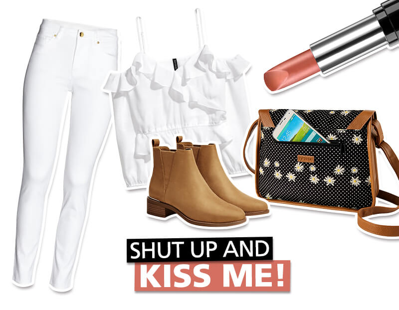 Look total white con bolso crossbody