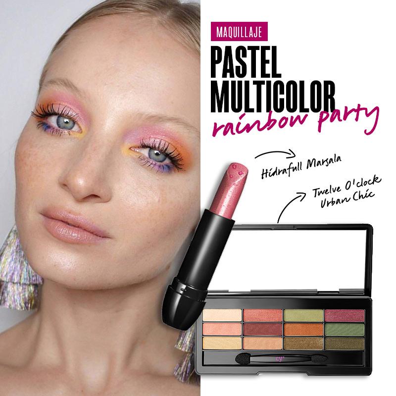 Maquillaje pastel multicolor: Rainbow Party | Fuente: Google Image