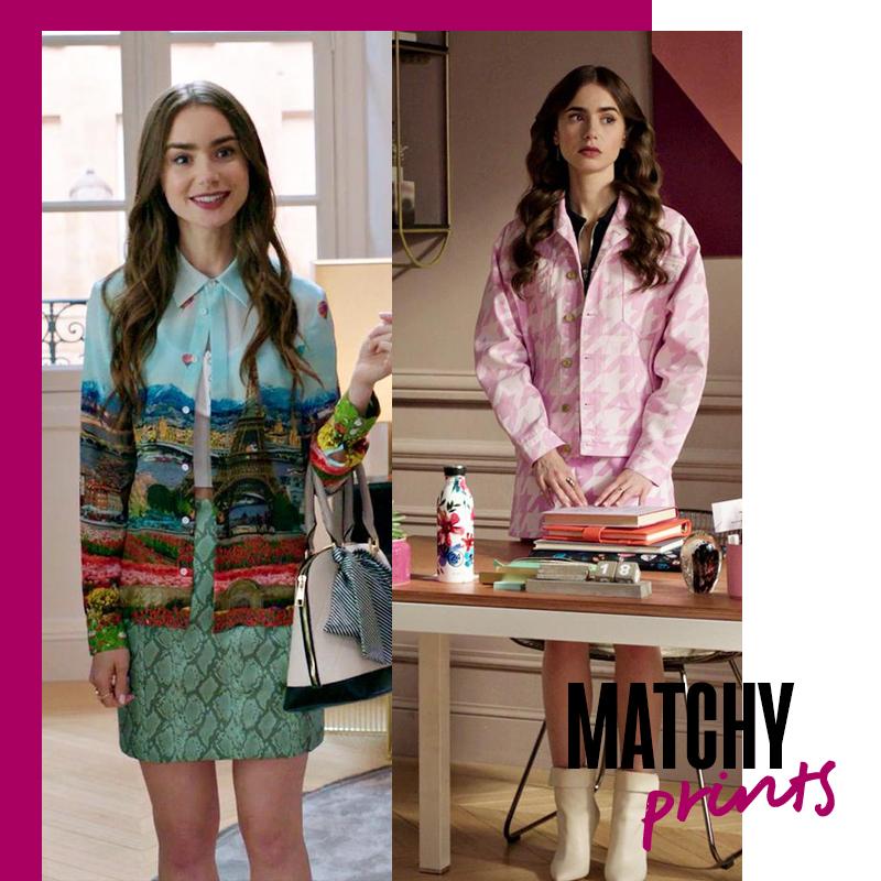 Looks de Emily in Paris: Matchy prints | Fuente: Google Image