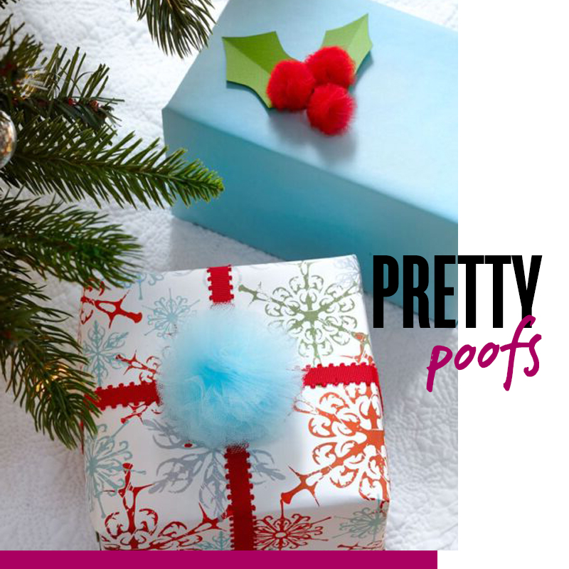 Envolturas de regalos de navidad decoración con pompones: pretty proofs | Fuente: Google Images