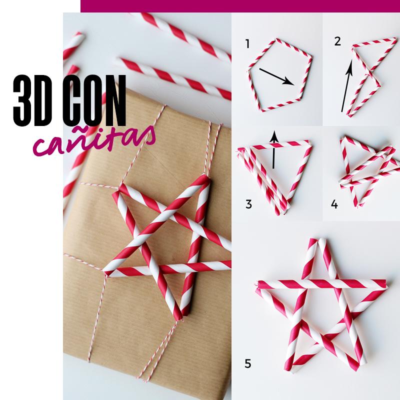Envolturas de regalos de navidad - 3D con cañitas | Fuente: Google Images