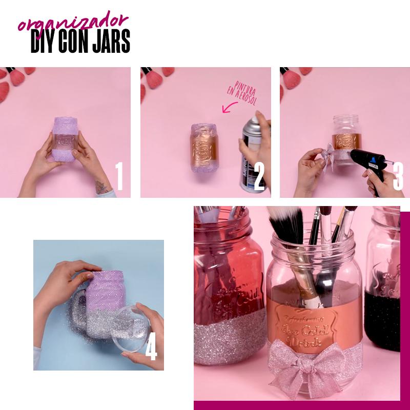 organizador DIY con jars | Fuente: Google Images